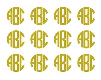 Monogram Decals, 2 Inch  Monograms, Full Sheet Monogram, Cell Phone decal, Yeti Cup decals, Mac Decals, wine Glass Gold monograms, Yeti, Car