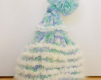 Hand Made Knitted Baby Beanie 0-3 months - Aqua/ White
