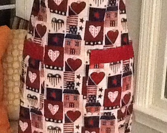Valentine's Country Style Hearts Flags Cabins Ladies Apron (No 56)