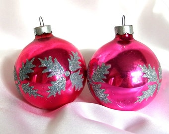 2 Vintage Christmas Ornaments, Shabby Cottage Chic Hot Pink with Silver Glitter USA Holiday Ornaments