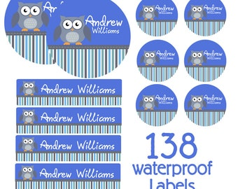 Owl Day Care Waterproof Labels, Kids School Labels Starter Pack -  Name Labels
