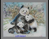 "Original Water color painting, Giant Panda "" Mommy's love is warm"" 10x8in, anmial mother and baby, animal painting"