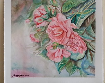 Rose on 300lb 640gsm water color paper, 11x11in