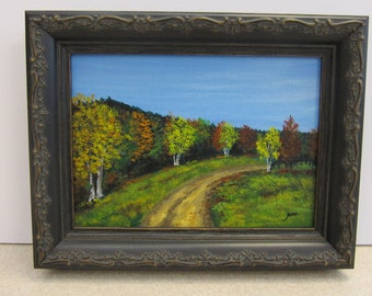 Fall Road Painting - Miniature Framed art, Mini Landscape original Wall Art