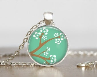 Silver Tree Branch Necklace - Silver Tree Floral Pendant