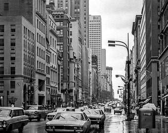 Vintage Black and White Photography Fine Art Print, Rainy Day In New York City