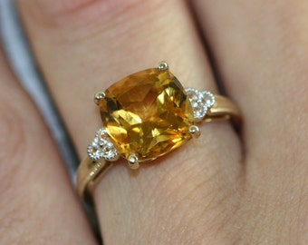 Cushion Cut Solitaire Citrine Ring in 14k Yellow Gold Citrine Engagement Ring November Birthstone Ring Gemstone Band, Size 7 (Resizable)