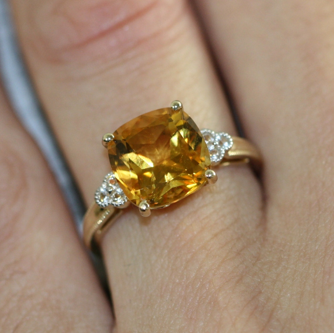 Cushion Cut Solitaire Citrine Ring In 14k Yellow Gold Citrine