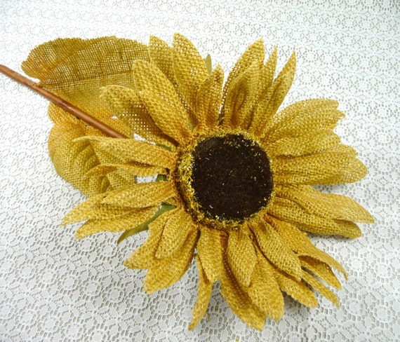 Sale burlap sunflower large flower long stem rustic gold for for Fall wedding bouquets for sale