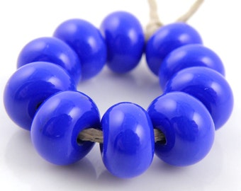 240 Opaque Medium Cobalt Blue Made to Order SRA Lampwork Handmade Artisan Glass Spacer Beads Set of 10 5x9mm