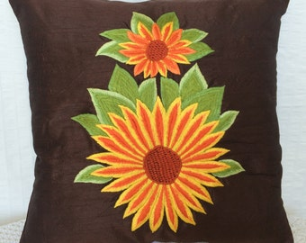 Brown Decorative pillow, Sunflower Pillow Cover, Accent Pillow Sunflower Embroidery Sizes-14x14, 16x16, 18x18, 20x20, 22x22