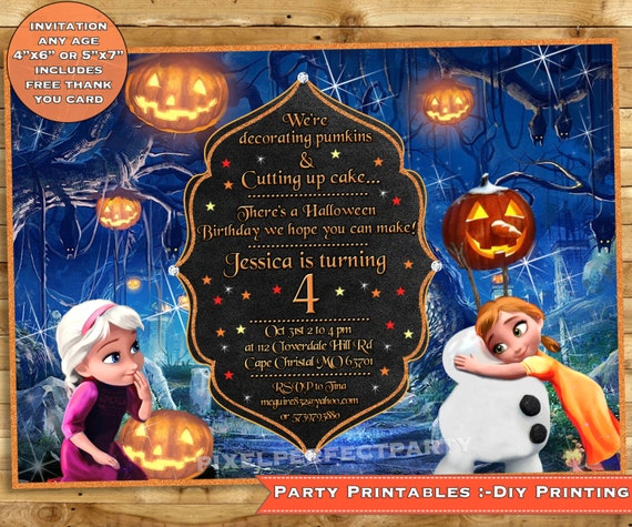 Frozen Halloween Birthday Invitation Halloween Invitation Frozen Halloween party Halloween Birthday Party Printable FREE THANK YOU card
