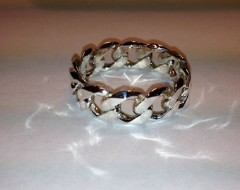 Sterling .925 Chain Link Ring Sz 17