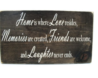 Rustic Wood Sign Wall Hanging Home Decor Gift - Home is Where Love Resides  (#1088)