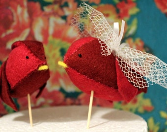 Handmade Felt Lovebird Cake Toppers - Pair of red birds, with your choice of accessories