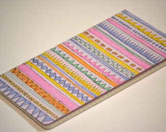 Tribal Print Moleskine Cahier Notebook Journal . Lined pages . Large . Pastel . Purple . Tribal