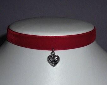 Red Heart Choker Velvet Collar Bow Necklace Goth Emo Cute Lolita