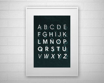 Typography Art Print - Alphabet - Letter poster - Printable - Wall Art