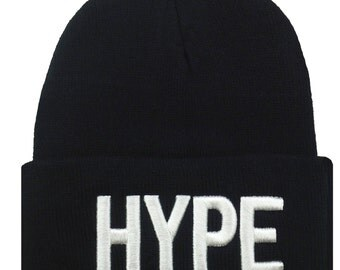 New HYPE 3D Embroidery Beanie Skull Cap Hip Hop Hat Black