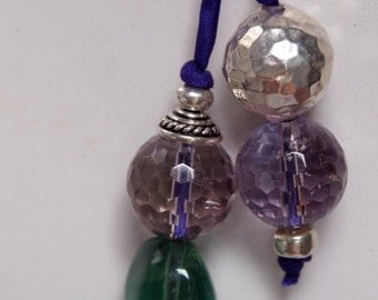 Sterling Silver, Ametrine, Fluorite and Silk Necklace