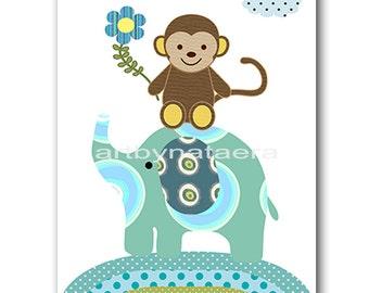 Monkey Nursery Print Elephant Nursery Digital File Children Art Baby Boy Room Decor Baby Boy Nursery Art 8x10 11X14 INSTANT DOWNLOAD Blue