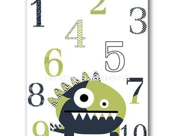 Monster Nursery Numbers Nursery Print Baby Boy Nursery Decor Digital Art Printable Print Digital Download 8x10 11X14 INSTANT DOWNLOAD green