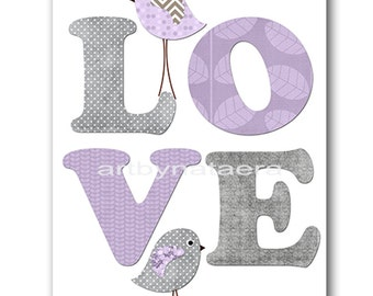 Love Nursery Art for Children Printable Digital Print Baby Girl Nursery Print Digital Download Print 8x10 11X14 INSTANT DOWNLOAD lavender