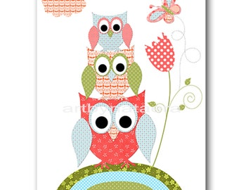 Owl Decor Owl Nursery Printable Nursery Art Kids Art Digital file Children Art Kids Wall Art Baby Boy Nursery 8x10 11X14 INSTANT DOWNLOAD