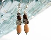 Tulsi and glass earthy beaded earring