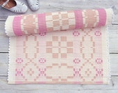 White, pink and peach cotton rug, reversible, handmade on the loom in rep weave technique, ready to ship