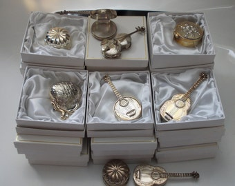 25 Boxed Solid Sterling Silver 925 Pillboxes - Guitar, banjo, etc...