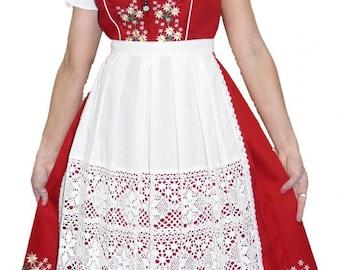 3-Piece Long Red German Dirndl Dress 2 4 6 8 10 12 18 20 22 24 26 S M XL 2XL