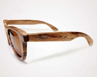 Mato Handmade Polarized Wayfarer Wooden Sunglasses - Wood Sunglasses - Bamboo Sunglasses Case - Mens/Womens Wooden Sunglasses