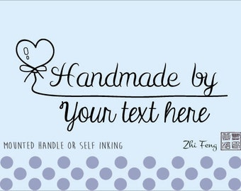 Custom Self Inking / Rubber stamp Handmade by, created by, website address company name - 06