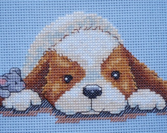 KL53 Flat Out! Sam & Peeps (Puppy and Mouse) Counted Cross Stitch Kit