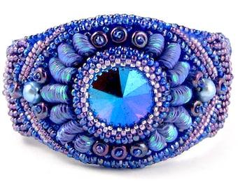 KeriLee Bead Embroidery Bracelet instant download pattern, bezeled rivoli, sequins sprays, pearls, seed bead waves
