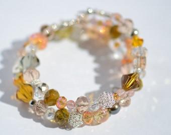 Wire Wrapped Bracelet (peach, orange, gold)