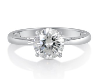 1.00 CT Round Cut d/si1 Diamond Solitaire Engagement Ring 14k White Gold