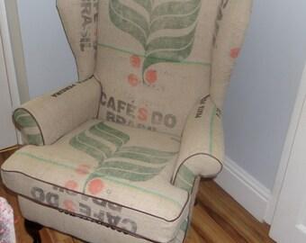 Bespoke Coffee Sack Wing Chair