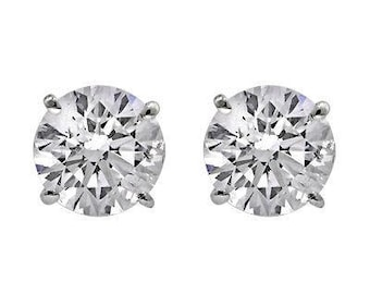 0.35CTS Conflict Free Round Brilliant Cut Diamond Stud Earrings, Natural Diamonds