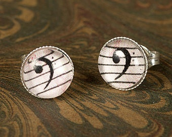 Bass Clef Stud Earrings for Cellist, Bassists, Trombonists, Tuba Players... - Sterling Silver 8mm