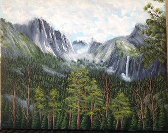 Mountains and trees with waterfalls oil painting on canvas