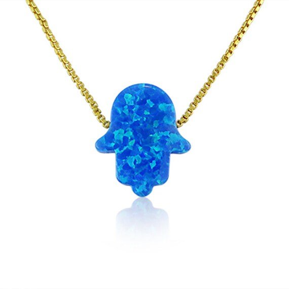 Hamsa Hand Necklace • Blue Opal Simply Gorgeous • Safe to Get Wet • Available in 6 Different Chain Lengths • Hamsa Gifts Are A Trend Now