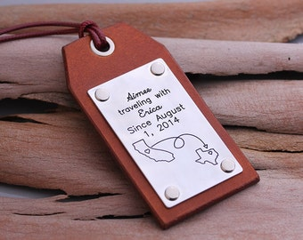 Custom Leather Luggage Tags - Map Luggage Tags - Hand made Luggage Tags - Can be make with any conturies or states
