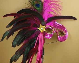 FUCHSIA Mardi Gras MASQUERADE Feather Stick MASK Party Decor