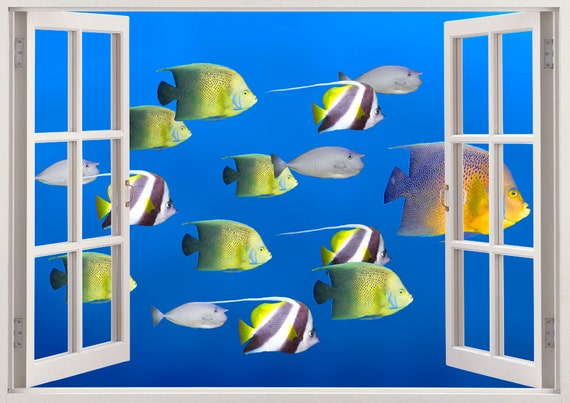 Tropical Fishes Wall Art 3d Window Fish By 3dwindowwallstickers