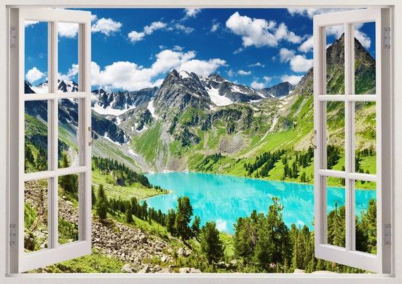 Nursery Wall Decals Lake D Window Children Bedroom Tree Wall - 3d window wall decals