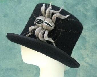 Tarantula Top Hat - Black - Black Top Hat - Spider Web - 3D Spider - Hand Felted Merino Wool - Wool Top Hat