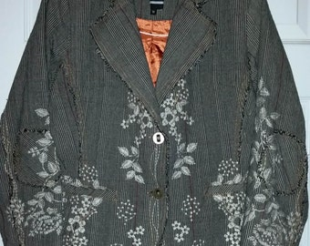 Vintage Bohemian Shabby Chic Tattered Look  Embroidered WE Blazer Jacket Size M