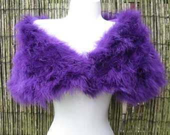 Cadburys Purple Coloured Marabou Feather Shrug / Stole / Shrug - One Size
